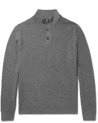 Jersey de cuello alto con cremallera gris de Ermenegildo Zegna