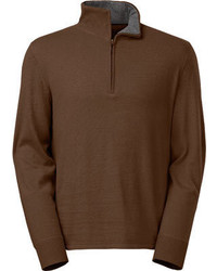 Jersey de cuello alto con cremallera marrón