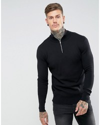 Jersey de cuello alto con cremallera negro de ASOS DESIGN