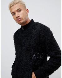 Jersey de cuello alto con cremallera negro de Night Addict