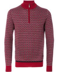 Jersey de cuello alto con cremallera rojo de Brioni
