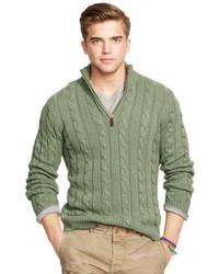 Jersey de cuello alto con cremallera verde oliva