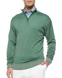 Jersey de cuello alto con cremallera verde