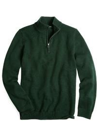 Jersey de cuello alto con cremallera verde oscuro