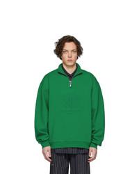Jersey de cuello alto con cremallera verde oscuro de Han Kjobenhavn