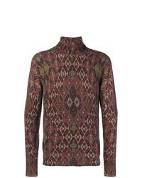 Jersey de cuello alto con estampado geométrico marrón de Etro