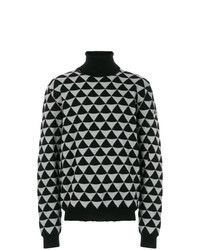 Jersey de cuello alto con estampado geométrico negro