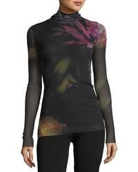 Jersey de cuello alto con print de flores negro