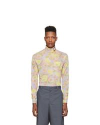 Jersey de cuello alto con print de flores violeta claro de Prada