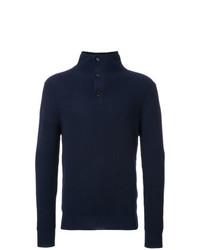 Jersey de cuello alto de botones azul marino de Kent & Curwen
