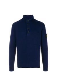 Jersey de cuello alto de botones azul marino de Stone Island