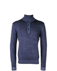 Jersey de cuello alto de botones azul marino de Sun 68