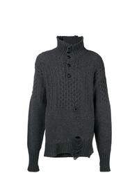 Jersey de cuello alto de botones en gris oscuro de Maison Margiela
