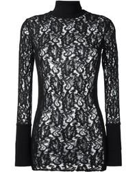 Jersey de cuello alto de encaje negro