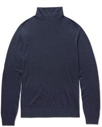 Jersey de cuello alto de lana azul marino de Boglioli