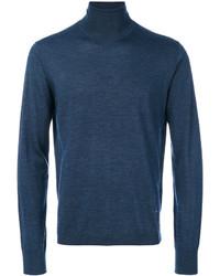 Jersey de cuello alto de lana azul marino de Emporio Armani