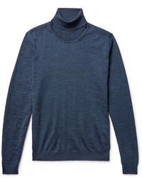 Jersey de cuello alto de lana azul marino de Hugo Boss