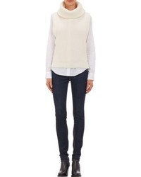 Jersey de cuello alto de lana blanco
