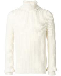 Jersey de cuello alto de lana blanco de MSGM