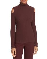 Jersey de cuello alto de lana burdeos