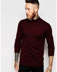 Jersey de cuello alto de lana burdeos de Asos