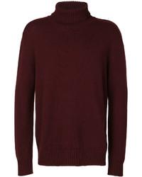 Jersey de cuello alto de lana burdeos de Laneus