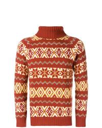 Jersey de cuello alto de lana de grecas alpinos en tabaco de The Gigi