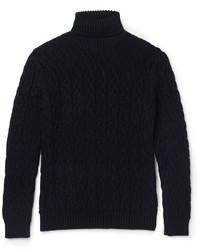 Jersey de cuello alto de lana de punto azul marino