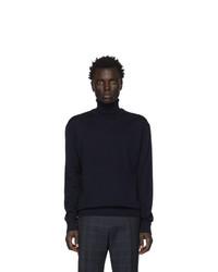 Jersey de cuello alto de lana de punto azul marino de BOSS
