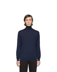 Jersey de cuello alto de lana de punto azul marino de Lanvin