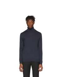 Jersey de cuello alto de lana de punto azul marino de Paul Smith
