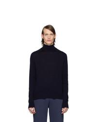Jersey de cuello alto de lana de punto azul marino de Thom Browne