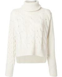 Jersey de cuello alto de lana de punto blanco de MM6 MAISON MARGIELA