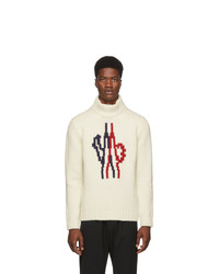Jersey de cuello alto de lana de punto blanco de Moncler Genius