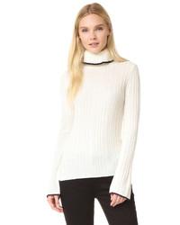 Jersey de cuello alto de lana de punto blanco de MSGM