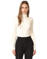 Jersey de cuello alto de lana de punto blanco de Salvatore Ferragamo