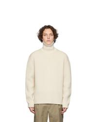 Jersey de cuello alto de lana de punto en beige de Joseph