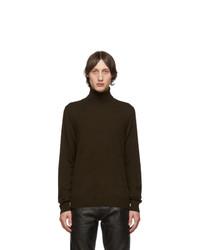 Jersey de cuello alto de lana de punto en marrón oscuro