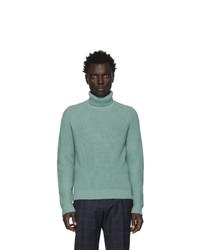 Jersey de cuello alto de lana de punto en verde menta