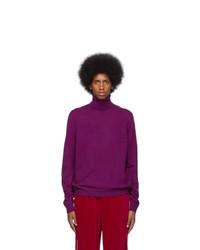Jersey de cuello alto de lana de punto en violeta de Gucci