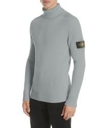 Jersey de cuello alto de lana de punto gris