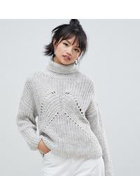 Jersey de cuello alto de lana de punto gris de Asos Petite