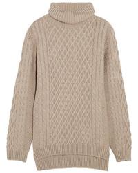 Jersey de cuello alto de lana de punto marrón claro de Chinti and Parker