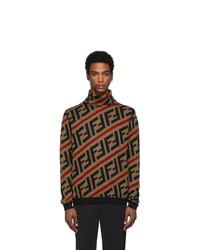 Jersey de cuello alto de lana de punto marrón de Fendi