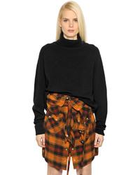 Jersey de cuello alto de lana de punto negro
