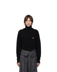 Jersey de cuello alto de lana de punto negro de Loewe