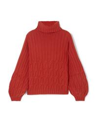 Jersey de cuello alto de lana de punto rojo de Johanna Ortiz