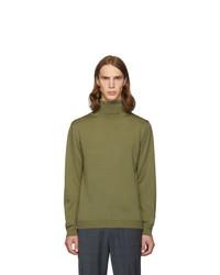 Jersey de cuello alto de lana de punto verde oliva de Tibi