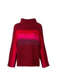 Jersey de cuello alto de lana de rayas horizontales burdeos de Rag & Bone