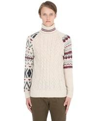 Jersey de cuello alto de lana en beige